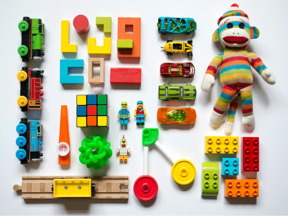 A collection of educational toys on a white background.